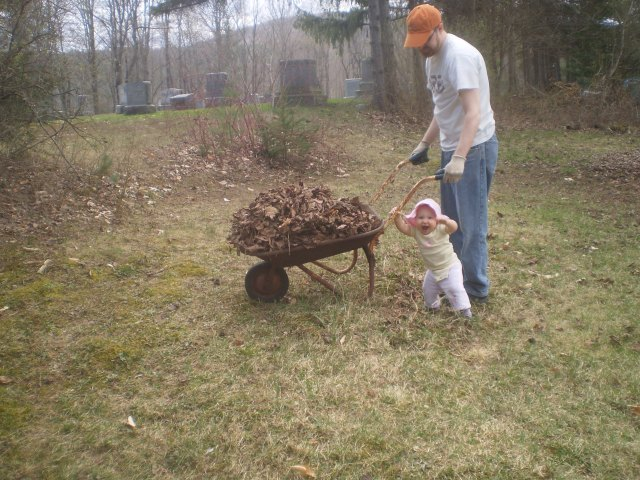 Me and my daughter cleaning up the yard